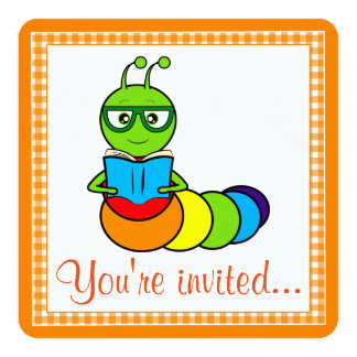 Birthday Party Invitation with Cartoon Bookworm