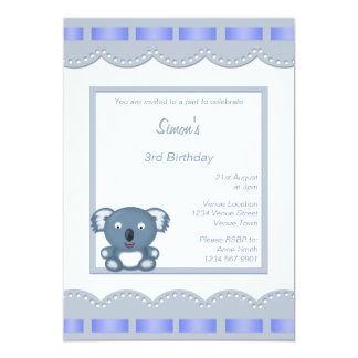 Birthday Party Invitation with Cartoon Koala Bear