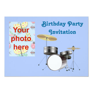 "Birthday party invitation with drum kit add photo 5"" x 7"" invitation card"