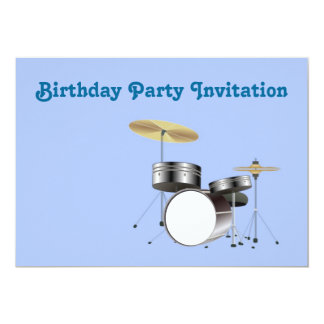 Birthday party invitation with drum kit drummer