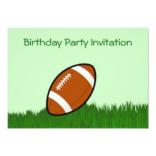 Birthday party invitation with football footy