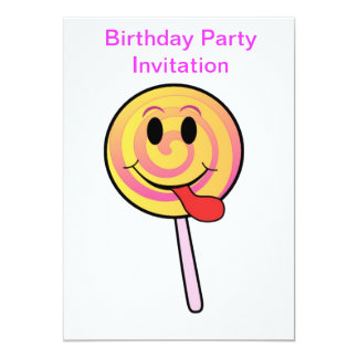 Birthday party invitation with lollypop candy