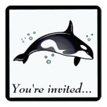 """Birthday Party Invitation with Orca Whale 5.25"""" Square Invitation Card"""