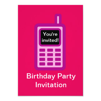 Birthday party invitation with pink cell phone