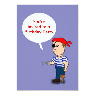 Birthday party invitation with pirate and eyepatch