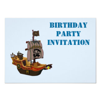 Birthday party invitation with pirate ship for boy
