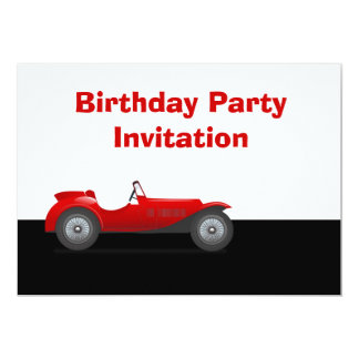 Birthday party invitation with red vintage car