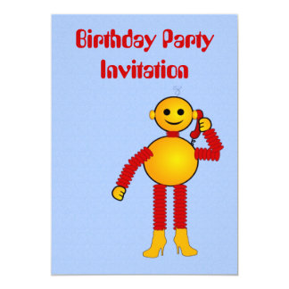 Birthday party invitation with robot on phone