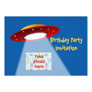 """Birthday party invitation with spaceships aliens 5"""" x 7"""" invitation card"""