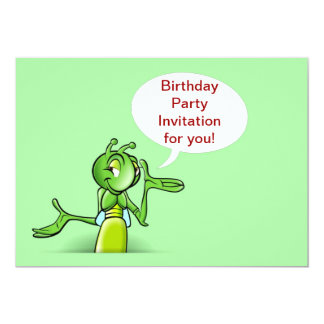 Birthday party invitation with talking cricket