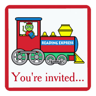 Birthday Party Invitation with Train and Bookworm