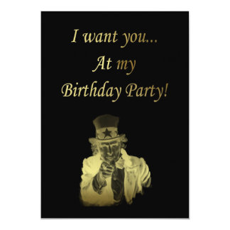 Birthday Party Invitation with Uncle Sam