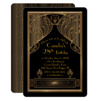 Birthday party invitation woman,great Gatsby,black