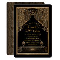 Birthday party invitation woman,great Gatsby,black