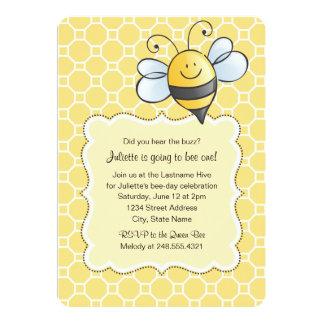 "Birthday Party Invitation | Yellow Bumblebee 5"" X 7"" Invitation Card"
