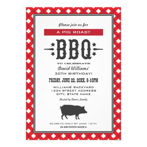Personalized Pig roast Invitations | CustomInvitations4U.com