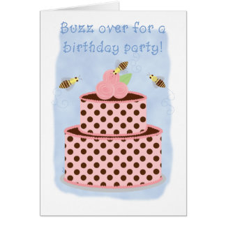 Birthday Party Invitations Bees and Cake Greeting Cards