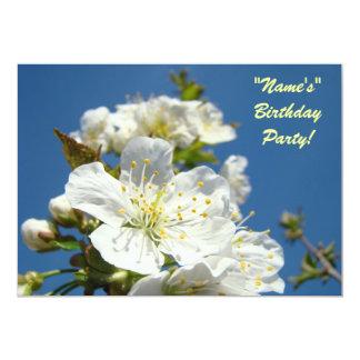 Birthday Party Invitations Blue Sky Cherry Blossom