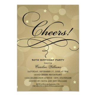 "Birthday Party Invitations | Champagne Gold Theme 5"" X 7"" Invitation Card"