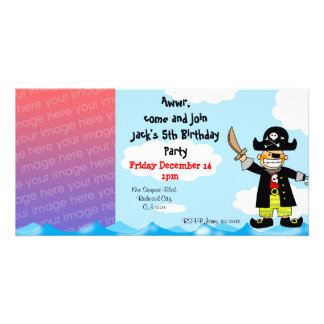 Birthday party invitations pirate custom photo card