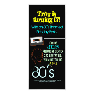 Birthday Party Invite | 80's Theme II |him-black