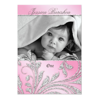 Birthday Party Invite Baby Glitter Leaves Pink