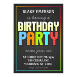 """Birthday Party Invite - gray with color elements 5"""" X 7"""" Invitation Card"""