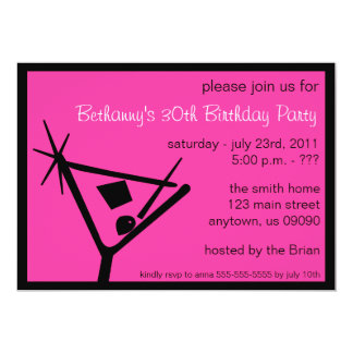 Birthday Party Invite Martini Glass (Pink)
