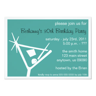 Birthday Party Invite Martini Glass (Teal)