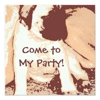 """Birthday Party Invite/Mastiff Puppy 5.25"""" Square Invitation Card"""