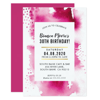 BIRTHDAY PARTY INVITE modern watercolor bold pink