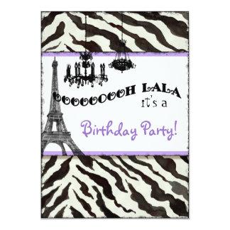 Birthday Party Invite, Zebra, Eiffel Tower Card