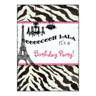 Birthday Party Invite, Zebra, Eiffel Tower