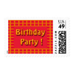 birthday party invited postage stamp