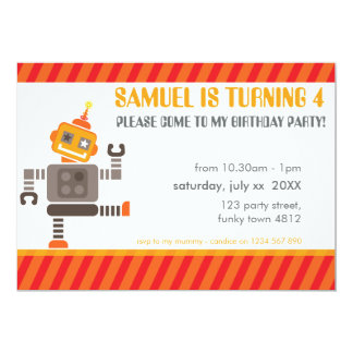 "BIRTHDAY PARTY INVITES cool robot dancing orange 5"" X 7"" Invitation Card"