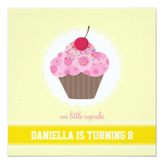 BIRTHDAY PARTY INVITES :: cupcake 3SQ