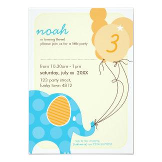 BIRTHDAY PARTY INVITES :: elephant + balloons 1P