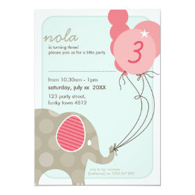BIRTHDAY PARTY INVITES :: elephant   balloons 4P 5