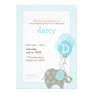 BIRTHDAY PARTY INVITES elephant + balloons 4P