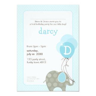 """BIRTHDAY PARTY INVITES :: elephant + balloons 4P 5"""" X 7"""" Invitation Card"""