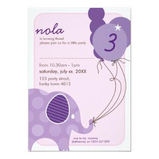 """BIRTHDAY PARTY INVITES :: elephant + balloons 5P 5"""" X 7"""" Invitation Card"""