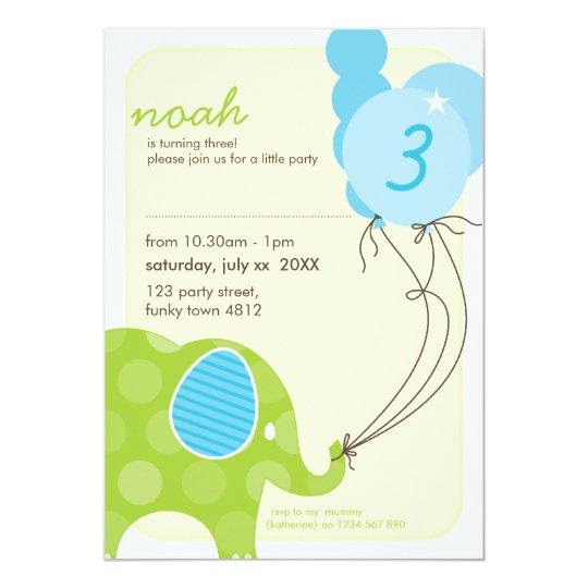 BIRTHDAY PARTY INVITES :: elephant + balloons 6P