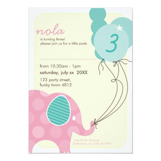 BIRTHDAY PARTY INVITES :: elephant + balloons 7P