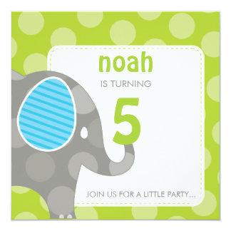 BIRTHDAY PARTY INVITES :: elephant + number 1SQ