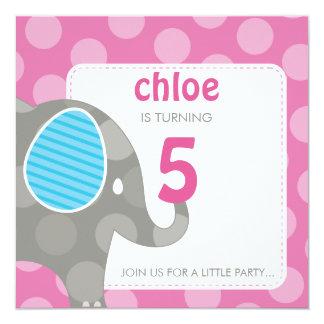 "BIRTHDAY PARTY INVITES :: elephant + number 5SQ 5.25"" Square Invitation Card"