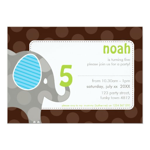 BIRTHDAY PARTY INVITES :: elephant + number 7L