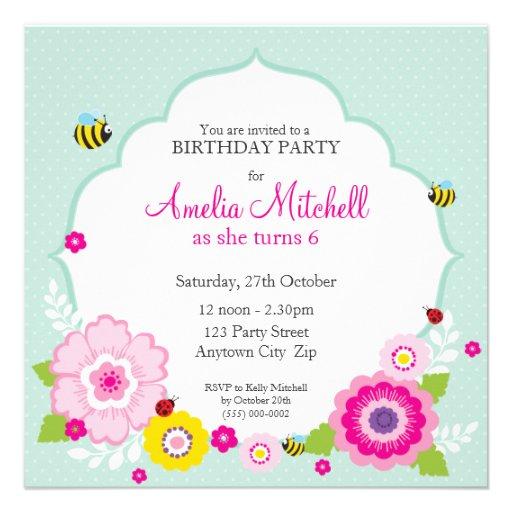 BIRTHDAY PARTY INVITES :: garden flowers 2