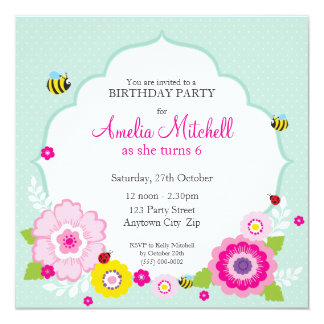 "BIRTHDAY PARTY INVITES :: garden flowers 2 5.25"" Square Invitation Card"