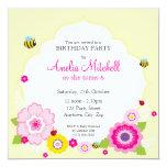 """BIRTHDAY PARTY INVITES :: garden theme 1 5.25"""" Square Invitation Card"""