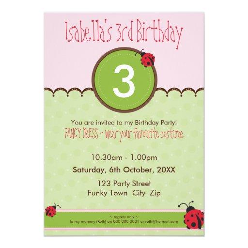"BIRTHDAY PARTY INVITES :: ladybird 4P 5"" X 7"" Invitation Card"